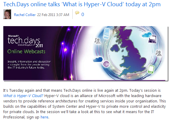 TechDays Online - What is Hyper-V Cloud